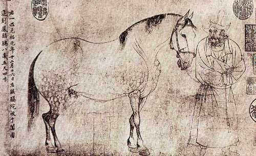 Li Gonglin - scroll painting of five horses (detail, first horse)