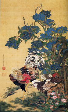 Jakucho Ito - Rooster and Hen with Hydrangeas