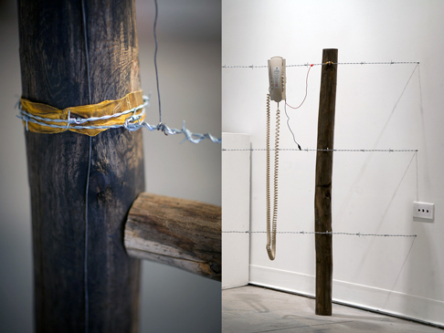 Phil Peters and David Rueter - Barbed Wire Fence Telephone (detail)