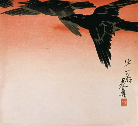 Shibata Zeshin - Crows in flight in a red sky