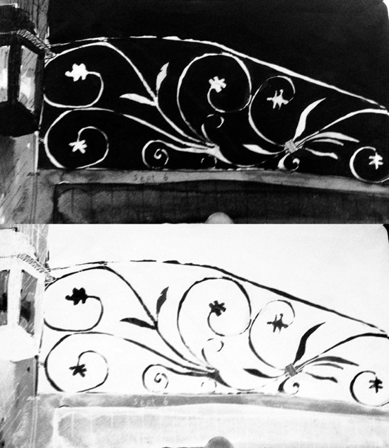 Pippa Arend - drawing of a hotel balcony photo bw and negative