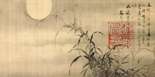 Tani Buncho - grasses and moon - 1817
