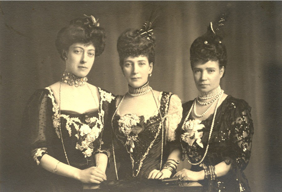 Daughters of King Christian IX - Dowager Empress Maria Feodorovna (right), with her elder sister, Queen Alexandra (center) and her niece, Princess Victoria (left)