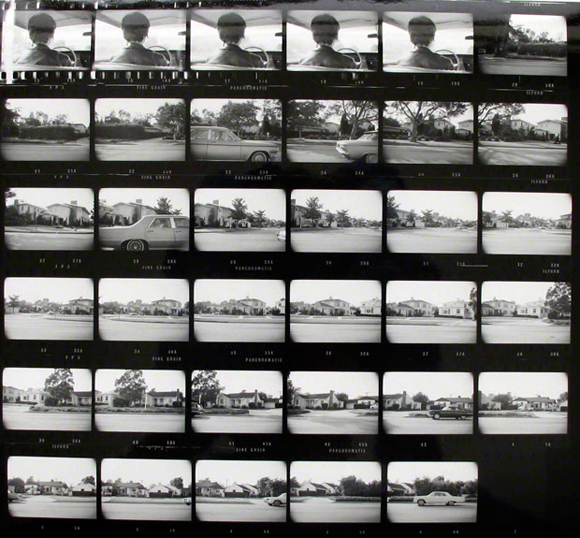 Ed Ruscha - contact sheet for Pacific Coast Highway, negatives 1974, printed later