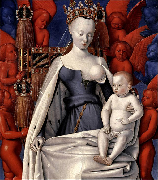 Jean Fouquet - Virgin and Child Surrounded by Angels, right wing of the diptych 1452