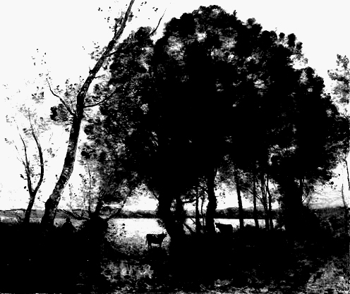 Corot - the lake - 1861 bw high contrast