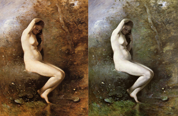 Camille Corot - Venus bathing version I and II - 1873-74