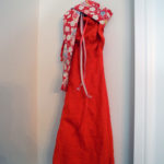 Josiane Keller - Molly's red evening gown with obi sash