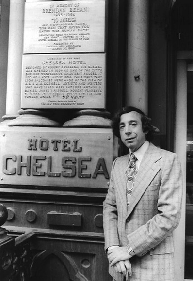 Stanley Bard outside the Chelsea Hotel, around 1970