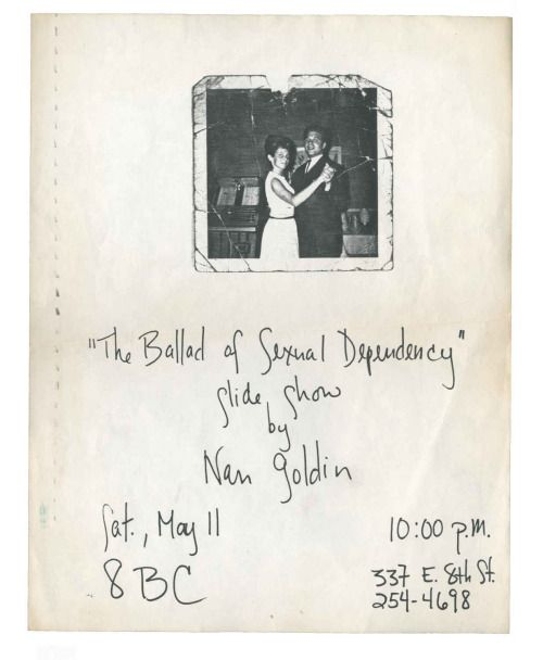 Nan Goldin - Ballad of Sexual Dependency Slide Show flyer