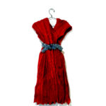 Josiane Keller - Molly's red silk dress with skyblue rhinestone belt