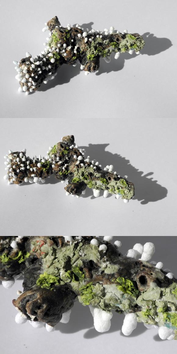 Josiane Keller - twig 2 with fungi - three times