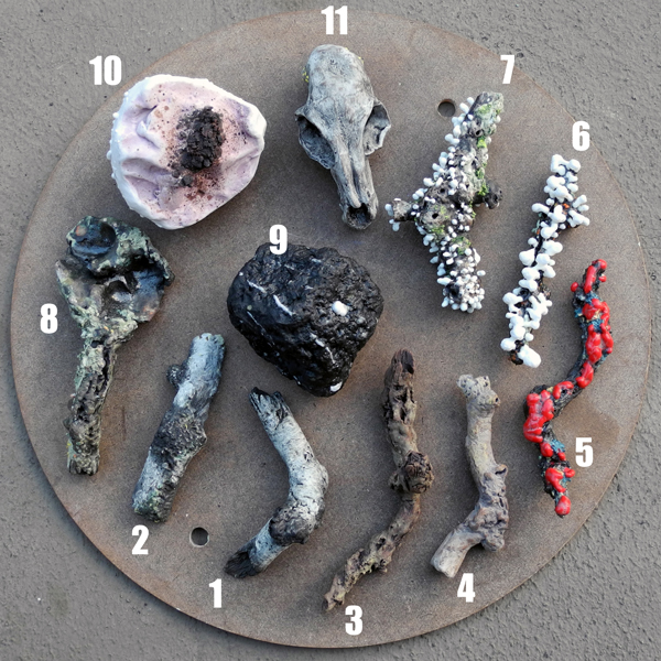 Josiane Keller - eleven small twigs and items 1 - with numbers